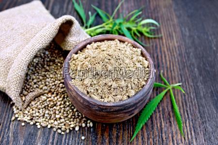 flour hemp in clay bowl with