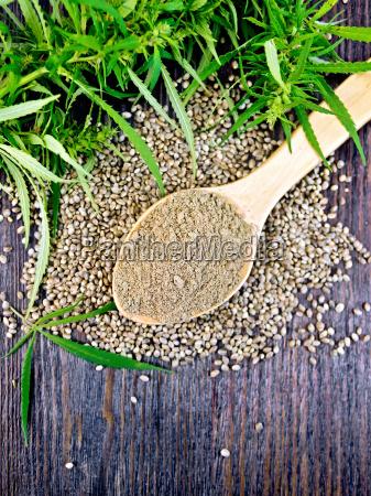 flour hemp in spoon with leaf