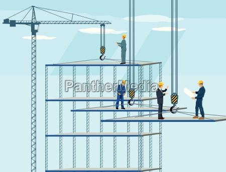 baustelle mit kran arbeitern und architekt