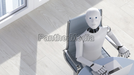 robot on laptop 3d rendering