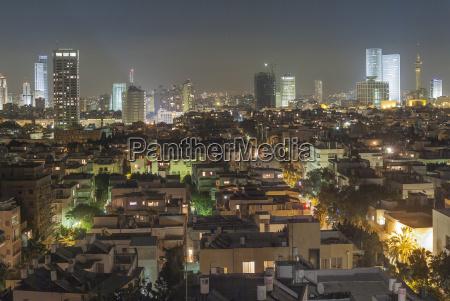 israel tel aviv cityscape at night