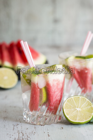 fresh mineral water with watermelon lime