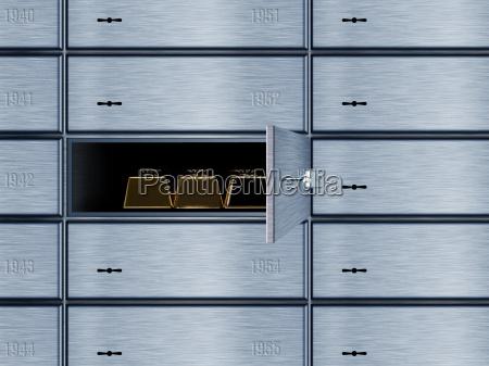 three gold bars in locker