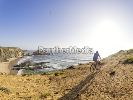 portugal senior man mountain biking at