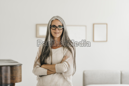 portrait of smiling woman with long