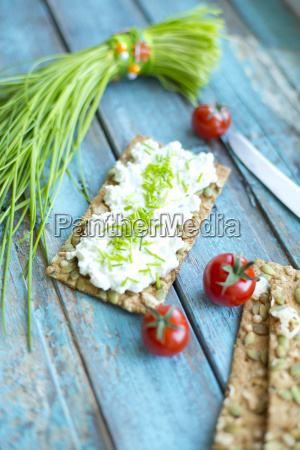 crispbread cream cheese bunch of chive