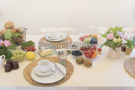 laid breakfast table