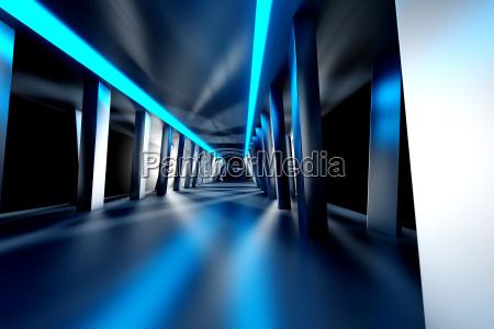 futuristic room 3d rendering
