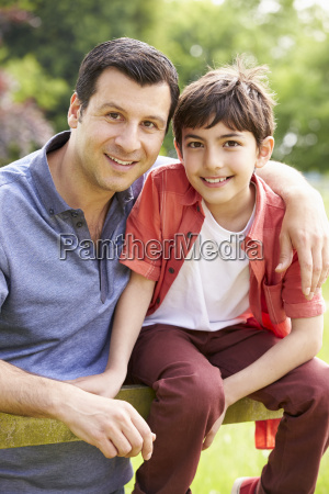 portrait of hispanic father and son