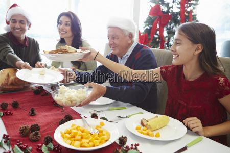 multi generation family enjoying christmas meal