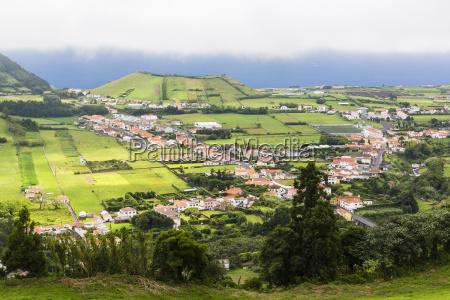 pastureland volcano hills and flamengos horta