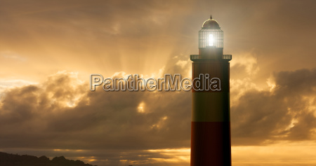 digital illustration of lighthouse at sunset