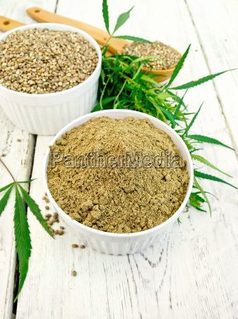 flour hemp and grain in bowls