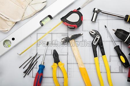 working tools on blueprint