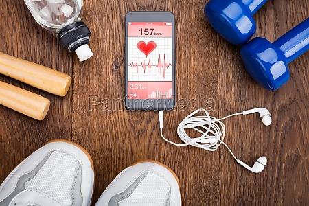 exercise equipment on wooden floor