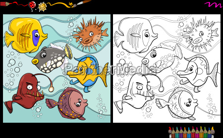 fish characters coloring page