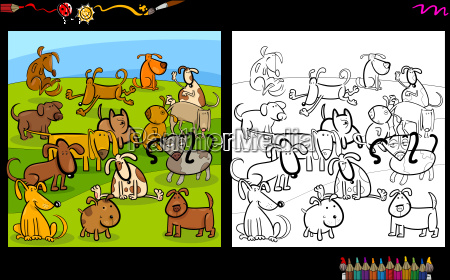 dogs group coloring page