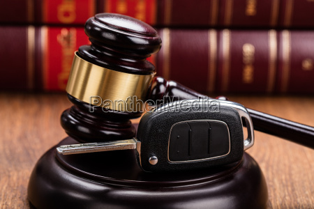 car key on judges gavel