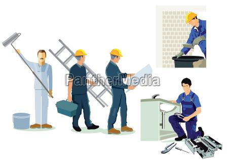 handwerker installateur klempner und architekt