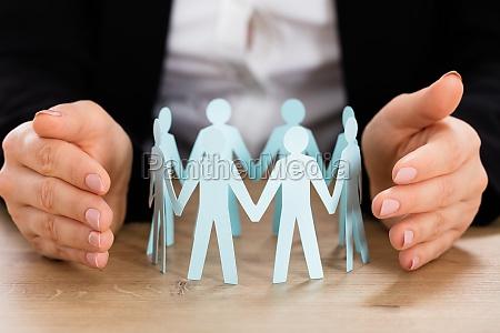 teamwork concept on wooden desk