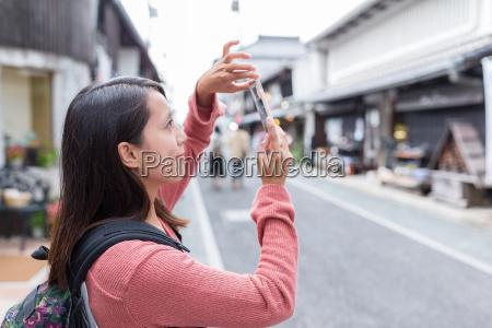 woman travel in nagahama of japan