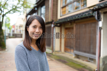 young woman in japanese city