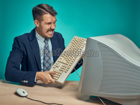 sessel lehnstuhl blau buero laptop notebook