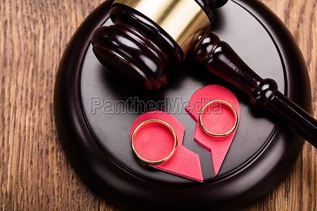 golden ring on wooden gavel