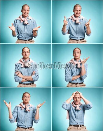 typ kerl handbewegung blau menschen leute