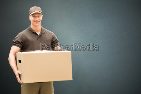 delivery man holding cardboard box
