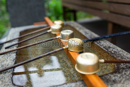 japanes wooden ladle in shrine