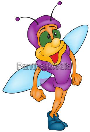 smiling beetle dressed in purple