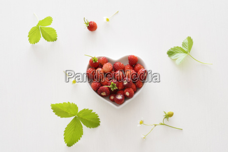 heart shaped bowl of wild strawberries