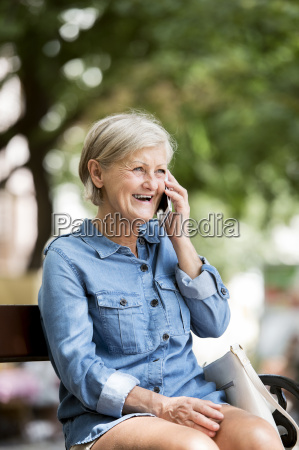 portrait of laughing senior woman on
