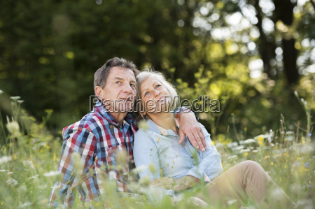 senior couple relaxing together on a