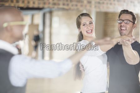 smiling dance partners together in dance