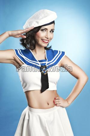 woman wearing sailor suit in pin