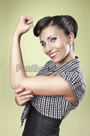 positive woman in pin up style