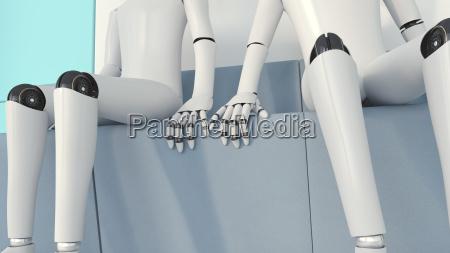 two robots in love 3d rendering