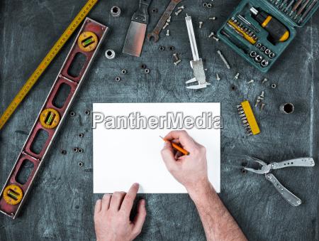 blau tafel werkzeug objekt gegenstand arbeitsstaette