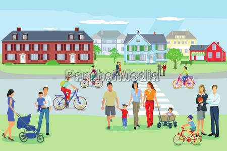 familien gehen spazieren in der freizeit