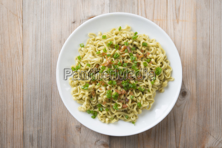 top view dried noodles on plate
