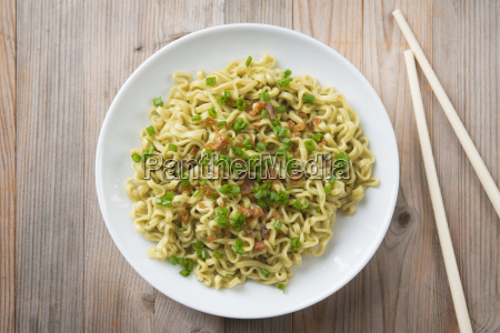 top view dried noodles