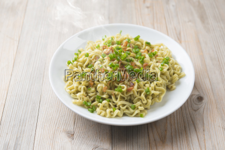 asian dried noodles on plate