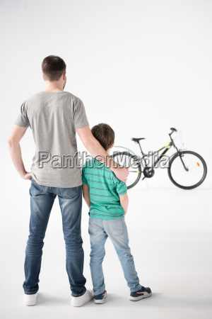back view of father and son