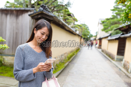 japanese woman using cellphone