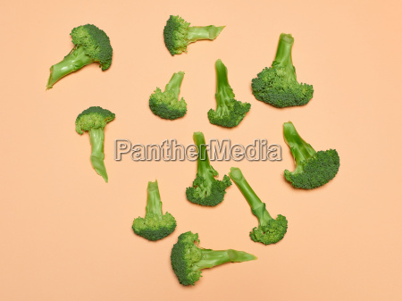 the fresh broccoli on pink background