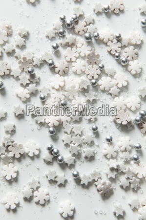 christmas cake decorations sprinkled on a