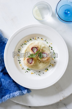 kataifi scallops on a bed of