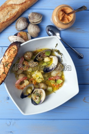 seafood soup with shrimps clams and
